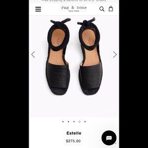 Rag&Bone black leather espadrilles size 8